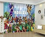 Baryy Cortinas opacas para habitación infantil con impresión fotográfica 3D, diseño interior del mundo de Roblox, multicolor, 75 x 166 cm, juego de 2 paneles