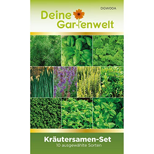 Kräutersortiment | Kräuter-Set mit 10 Sorten Samen | Kräutersamen-Sortiment | Küchenkräuter und Gartenkräuter