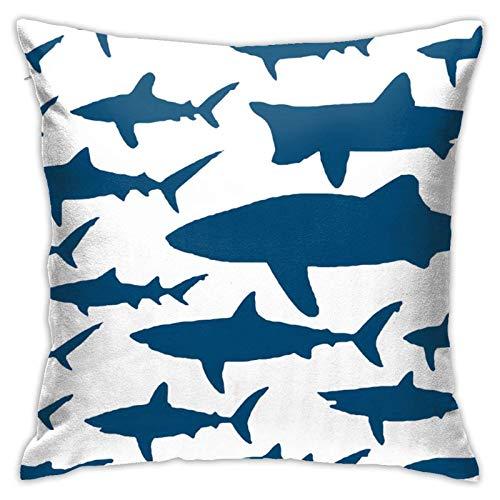 WH-CLA Fundas De Almohada De Tiro Ocean Shark Floral Sea Fish Cremallera Coche Fundas De Almohada Fundas De Cojín Fundas De Regalo Fundas De Almohada Suaves Fiesta 45X45Cm Sofá Sofá Apar
