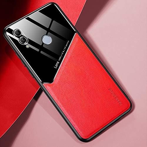 para Huawei Honor 10 Lite Cuero Todo Incluido + Funda Protectora de Vidrio orgánico con Chapa de Hierro metálico (Color : Red)