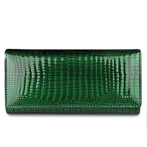 Women Wallets Genuine Leather Wallet Female Hasp Alligator Purse Long Coin Purses Card Holders Ladies Wallets Womens,Jade Green