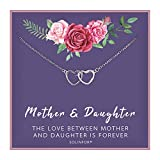 SOLINFOR Mother Daughter Necklace - Sterling Silver Jewelry with Gift Wrapping, Card - Gifts for Mom, Daughter, Birthday, Mothers Day - Two Interlocking Hearts Necklace for Women