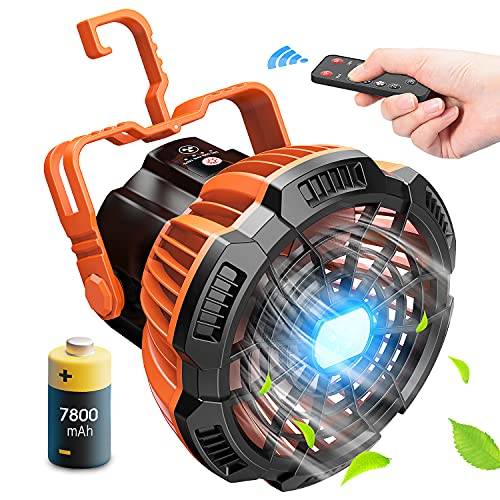 Portable Camping Fan Rechargeable With LED Lantern, 7800mAh Battery Operated USB Desk Fan with Remote Control, 180° Head Rotation Folding Outdoor Ceiling Tent Fan for Fishing, Outdoor, Office, Car