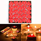 50pcs Heart Shaped Candles, Smokeless Tealights Candle, Tea Light Candles for Birthday, Proposal, Wedding, Party, Red, Wedding Engagement, Valentines Day, Christmas