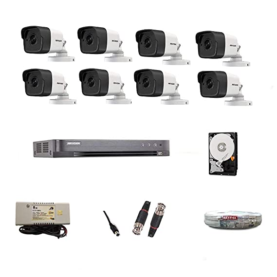 Hikvision AED Ultra Full HD 5MP DS-7B08HUHI-K1 8CH HD DVR with 8 Bullet Cameras DS2CE1AHOT-ITPF and 4TB Hard Disc, Wire Roll, Supply and All Required Connector