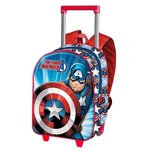 Capitán América First-Mochila 3D con Ruedas (Pequeña)