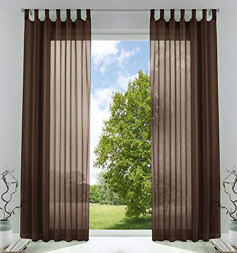 2er-Pack Gardinen Transparent Vorhang Set Wohnzimmer Voile Schlaufenschal mit Bleibandabschluß HxB 245x140 cm Braun, 61000CN