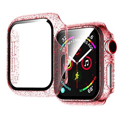 JWWLLT Flyuzi Glass + Funda para el Reloj de Apple Watch 44mm 40mm 42mm 38mm Accesorios Accesorios Jelly Bling Pantalla de Parachoques Protector para iWatch Series 5 4 3 6 SE