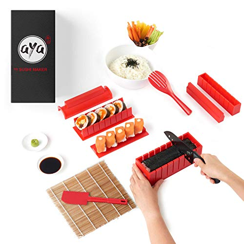 Sushi Making Kit - AYA Sushi Maker 2 - Online Video Tutorials Complete with Sushi Knife & Bamboo Mat - 12 Piece Sushi Set - Easy and Fun - Sushi Rolls