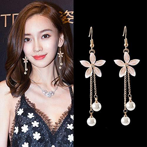Erin Pendientes De Flores Transparentes De Cristal Brillante Pendientes Largos De Perlas De Imitación De Mujer Borla Colgantes Femeninos Accesorios De Joyería De Moda Coreana