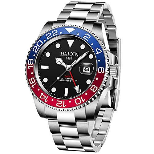 Reloj de pulsera mecánico, GMT, para hombre, de acero inoxidable, diseño clásico, movimiento japonés, incluye bisel giratorio