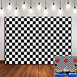 White and Black Racing Texture Grid Photography Backdrop Chess Board Photo Booths Studio Props Birthday Checkered Flag Decorations Party Banner Vinyl 5x3ft Supplies Photo Background