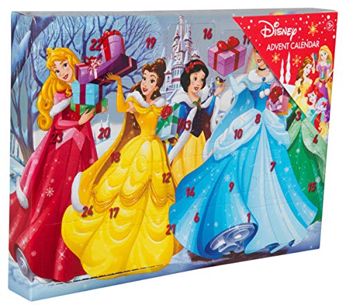 Sambro DSP14-6722 Calendrier de l'Avent Disney Princess avec Papeterie, Petits Jouets et Autocollants pour Enfants à partir de 3 Ans Multicolore