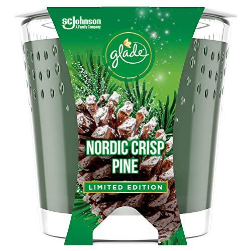Glade (Brise) Duft-Kerze im Glas, Nordic Crisp Pine (Piniennadel, Tannenbalsam, Wacholderbeeren), bis zu 30 Stunden Brenndauer, 6er Pack (6 x 129g)