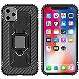 GOBY Cover iPhone 11 PRO Max Presenta Un Design Ultra-Sottile a Doppia Cover e Una Robusta Staffa ad Anello in Metallo a 360 ° per l'uso con componenti magnetici del Veicolo per la robustezza (Nero)
