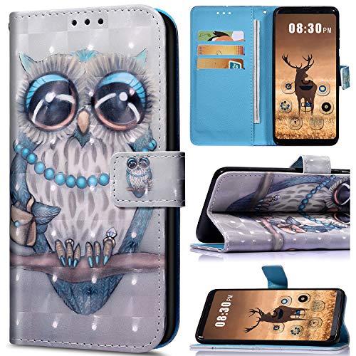 Saceebe Compatible avec Samsung Galaxy A6 Plus 2018 Coque en PU Cuir Etui à Rabat Fille Bling Glitter 3D Motif Colorés Housse Pochette Portefeuille Flip Case Magnétique Stand de Protection,Hibou