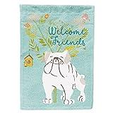 Caroline's Treasures BB7603GF Welcome Friends English Bulldog White Flag Garden Size, Small, Multicolor