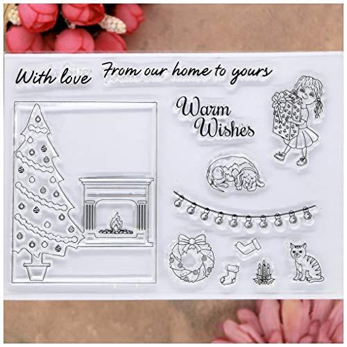 KWELLAM Weihnachtskranz, Katze, Kamin, warme Wünsche, klare Stempel für Karten Basteln und Scrapbooking