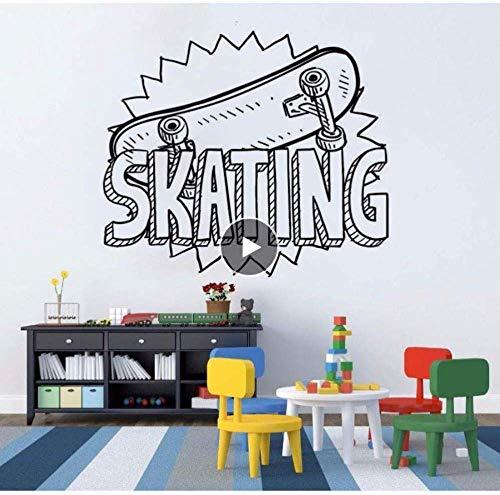 Muursticker Muursticker Muursticker Skateboard Vinyl Sticker Schaatsen Sport Kids Gift Skateboard Muur Kunstmuurschildering Kids Kamer Verwijderbare Home Decor 66 * 56Cm