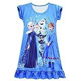 Toddlers Princess Nightgown Baby Girls Pajamas Dress Milk Silk Nightie for Children Girls Sleepwear (Blue Elsa, 6Years)