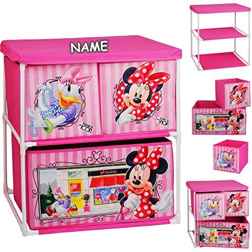 alles-meine.de GmbH Kinderregal mit 3 Aufbewahrungsboxen - Disney - Minnie Mouse - inkl. Name - 60 cm - für Kinder - Boxen aus Stoff - Kommode / Regal / Kindermöbel für Blumen - ..