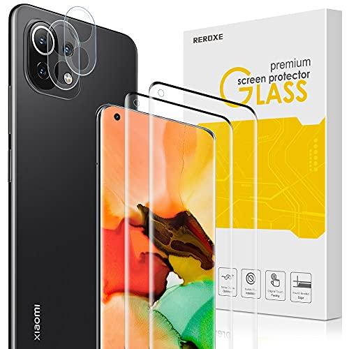REROXE Panzerglas Schutzfolie Kompatibel mit Xiaomi Mi 11, 2 Stück Xiaomi Mi 11 Schutzfolie und 2 Stück Xiaomi Mi 11 Kamera Panzerglas, 9H Härte Anti-Kratzen Panzerglasfolie
