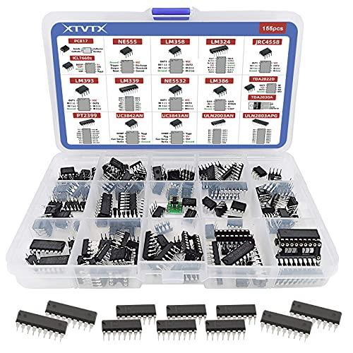 XTVTX 150PCS IC Chip Sortiment Darlington Transistoren IC Sockel Adapter Opamp-Oszillator Audio-Verstärker Darlington Fotokoppler Timer PC817 NE555 LM358 LM324