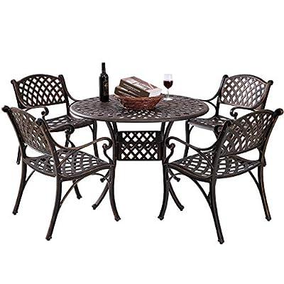 Kinger Home 5 Piece Cast Aluminum Outdoor Patio Dining Table Set w/ 4 Chairs, Umbrella Hole, Lattice Weave Design - Antique Brown