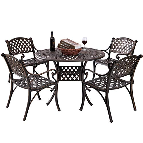 Kinger Home 5 Piece Cast Aluminum Outdoor Patio Dining Table Set w/ 4 Chairs, Umbrella Hole, Lattice Weave Design - Antique Brown