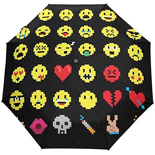 Pixel Emoji Smiley Emoticon Paraguas automático a Prueba de Viento, Viaje Resistente a los Rayos UV Paraguas Parasol y Lluvia para Hombres y Mujeres, automático de Apertura y Cierre