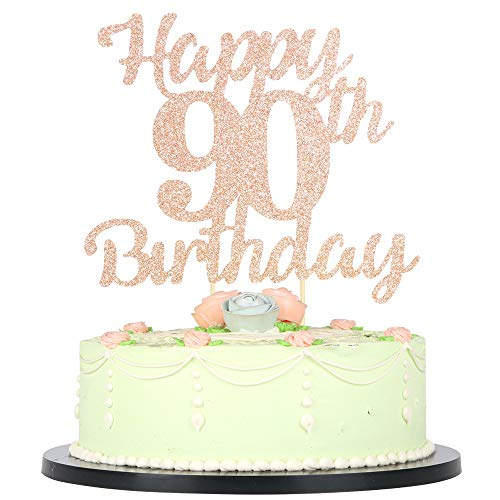 LVEUD 90th Birthday Cake Topper for Happy Birthday 90 Rose Gold 90th Cake Topper?Happy Birthday Cake Topper Cake Ornament (90th)