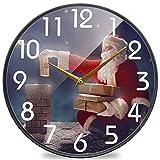 Papá Noel envía Regalo de Reloj de Pared de Chimenea Redonda, silencioso Reloj de Escritorio analógico de Cuarzo silencioso operado por batería para el hogar, la Oficina, la Escuela