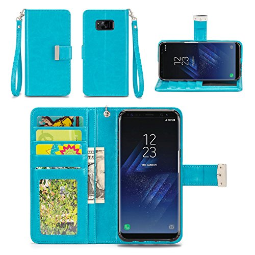 IZENGATE Wallet Case Designed for Samsung Galaxy S8 Plus - PU Leather Flip Cover Folio with Stand (Turquoise Blue)