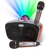 RUBEHOOW - Sistema de altavoces PA portátil con 2 micrófonos inalámbricos para fiestas en casa, reuniones, bodas, iglesias, pícnic, al aire libre/interior [naranja]