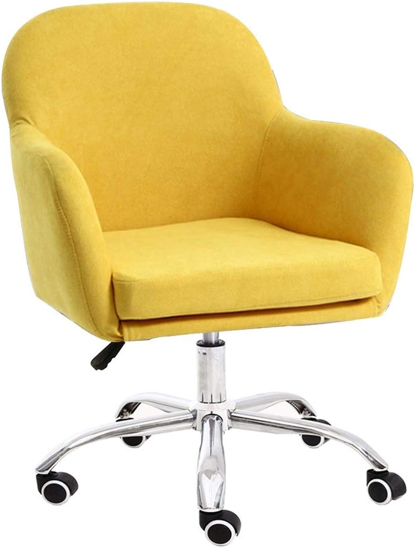 Stühle MEI Nordic Swivel Computer Abnehmbarer und waschbarer Stoff Einfache Freizeit Sessel Schlafzimmer Sofa Sessellift Bürostuhl nach Hause (Farbe   Gelb)
