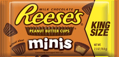 REESE'S Chocolate Peanut Butter Candy, Minis, King Size (Pack of 16)