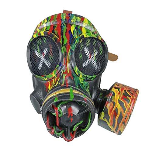 zuoshini Retro Steampunk Gasmaske Latex Haube Kopfbedeckung Retro Gothic Punk Zombie Soldaten Schädel Maske Maskerade Halloween Party Requisiten - Tarnung