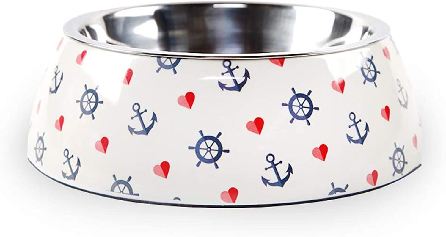 PET BOWL HOME Dog Food Bowl Stainless Steel NonSlip Double Layer Single Bowl Cat Bowl White Pet Supplies