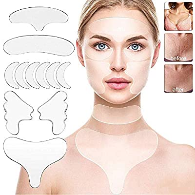 GDDT Reusable Anti Wrinkle Silicon Gel Pad Collection, Facial Wrinkle Patches Forehead Face Line Filler for Skin Care (11Pcs/Set)