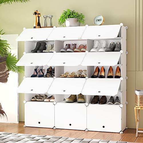 HOMEYFINE Zapatero, Sostén de Almacenamiento portátil de Zapatos, Cubos de Armario modulares para Ahorrar Espacio, Cajas de Almacenamiento de Zapatos y Zapatillas, Blanco(3/7)
