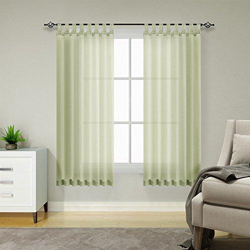 TOPICK Voile Vorhang Mit Stangendurchzug Transparent Gardine 2 Stücke Gaze Paarig Fensterschal Vorhänge 145 cm x 140 cm(H x B) 2er-Set Oliv