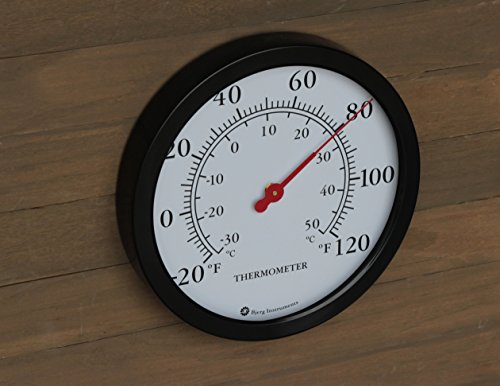 Product Image 2: Bjerg Instruments 12″ Steel Enclosure Decorative Indoor/Outdoor Patio Wall Thermometer (Black)