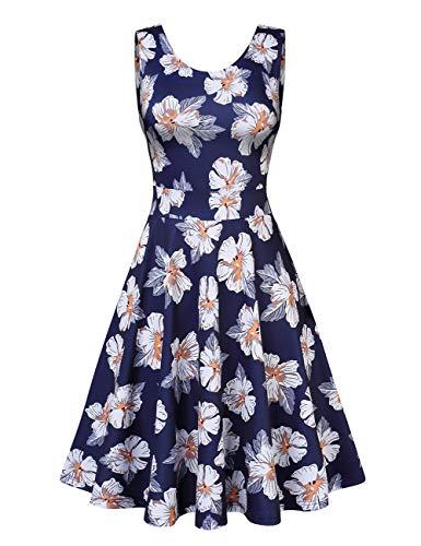 Clearlove Damen Kleid Retro Ärmellos Kurz Brautjungfern Kleid Spitzenkleid Abendkleider Cocktailkleid Partykleid,Dunkelblau+weiß Blumen,XL