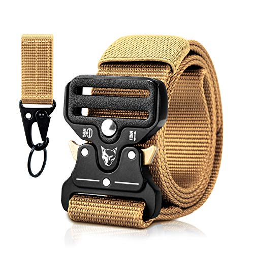 MELLIEX Tactical Belt, Massivem Atmungsaktivem Militär Gürtel Nylon Gurtband mit Zinklegierungsschnalle für Outdoor-Aktivitäten(Khaki)