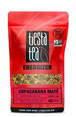 Tiesta Tea | Copacabana Mate, Loose Leaf Tropical Mango Mate Tea | All Natural, High Caffeine, Citrus Mate Tea, Energize, Coffee Substitute | 16oz Bulk Bag - 200 Cups | Green Mate Tea
