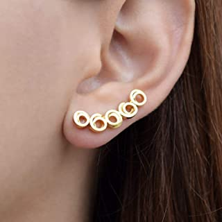 Escaladores de oreja minimalistas, aretes de oro de regalo brazalete de oreja, puños de earcuffs de plata esterlina, oreja Crawlers orejas barridos de oído hipoalergénicos