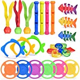 FUN LITTLE TOYS 27 PCs Diving Pool Toys Underwater Swimming Pool Toys Set, Pool Party Favors for Kids