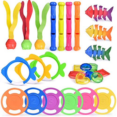 FUN LITTLE TOYS 27 PCs Diving Pool Toys Underwater Swimming Pool Toys Set Pool Party Favors for Kids