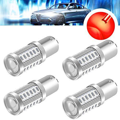 yifengshun 4x Rojo Bombillas Led Coche 1156 (BA15S) 5730 33SMD 12-30V 3.6W Súper Brillantes-Luz de marcha atrás, luz de freno, luz de posición, luz de señal de giro