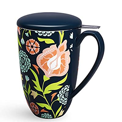 immaculife Tea Cup with Infuser Ceramic Tea Mug with Infuser and Lid Teaware with Filter 15oz, Black Flower